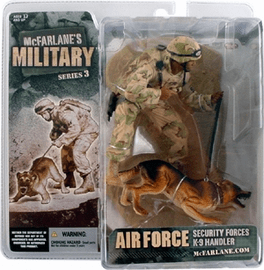 McFarlane Military 3 Air Force Security K9 Handler African Figure