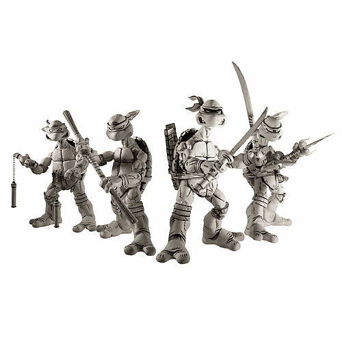 NECA Teenage Mutant Ninja Turtles Black and White Action Figure Set
