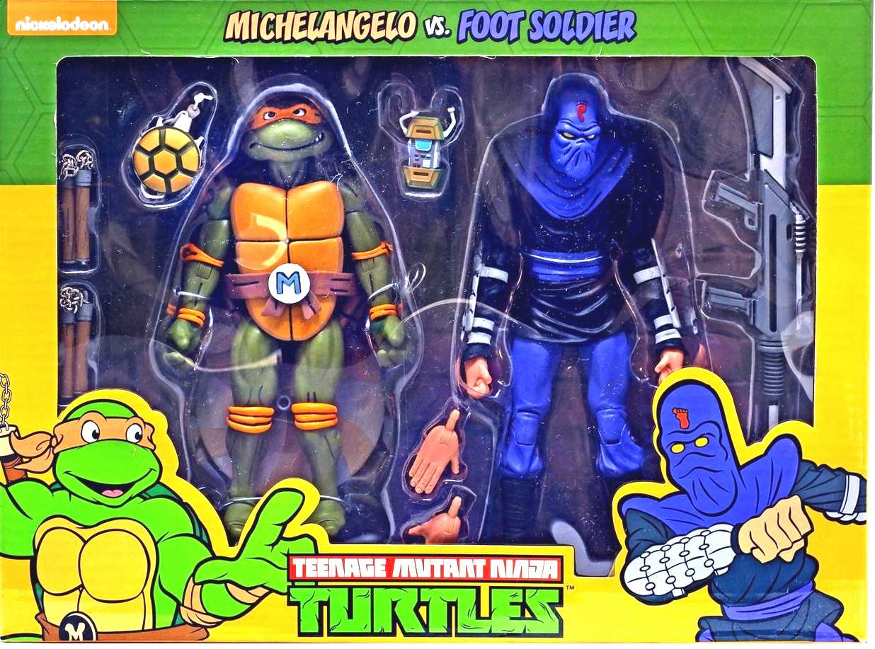 NECA Teenage Mutant Ninja Turtles Michelangelo vs. Foot Soldier Set