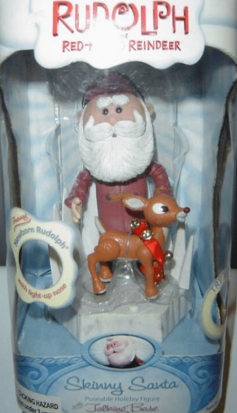 Rudolph the Red-Nosed Reindeer Talking Base Skinny Santa Figure