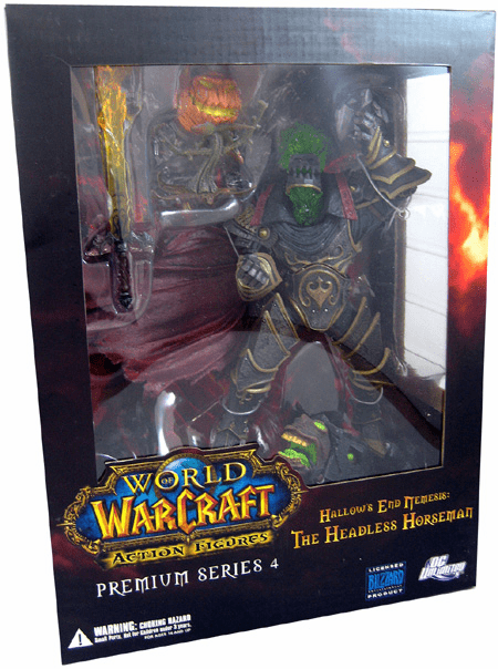 World of Warcraft Premium Series Hallow's End Nemesis Headless Horseman action figure box Set