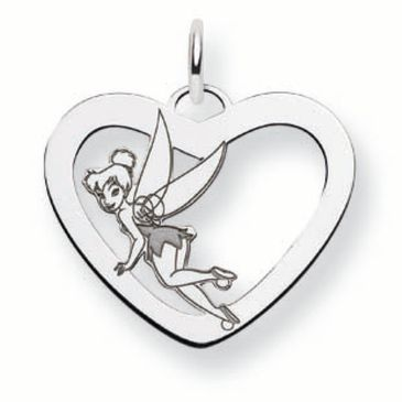 Sterling Silver Disney Tinker Bell Silhouette Heart Charm