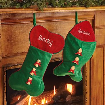 Bone or Fish Christmas Stockings for Pets - Personalized