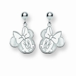 Sterling Silver Disney Minnie Mouse Cutout Heart Post Dangle Earrings