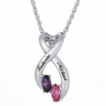 Sterling Silver Marquise Birthstone Twisted Swirl Pendant Necklace