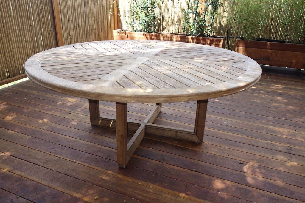 60 Round Weathered Teak Patio Furniture Dining Table