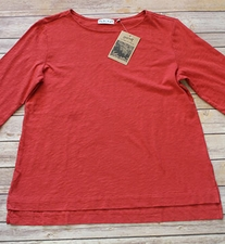 "Habitat ""Cotton Pebble Tee"" #27425 Cuffed Boatneck Top"