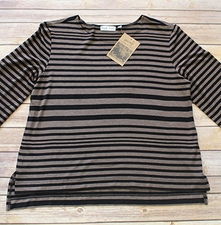 "Habitat ""Heathered Rayon Jersey Stripes"" #56905 Easy Cuffed Tee"