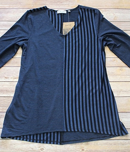 "Habitat ""Heathered Rayon Jersey Stripes"" #59902 Hi-Lo V Top"
