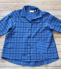 "Habitat ""Plaid/Stripe Bubble Mix"" #21628 Grommet Sleeve Pleat Back Shirt"