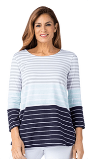 Multiples #M10401TM Stripe Knit Top