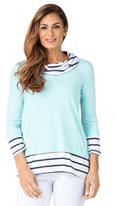 Multiples #M10403TM Layered Stripe Knit Top