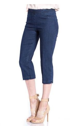 Slim Sation #M2603P Everyday Slim-Fit Denim Capri/Back Pockets Only