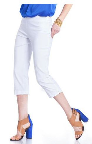 Slim Sation #M2603P Everyday Slim-Fit White Capri/Back Pockets Only