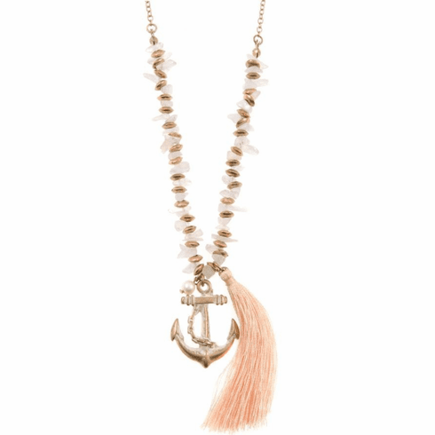 Anchor Tassel Pendant Necklace