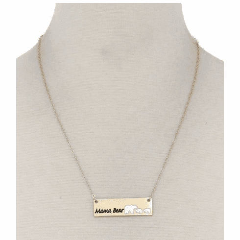 Mama Bear Metal Bar Necklace