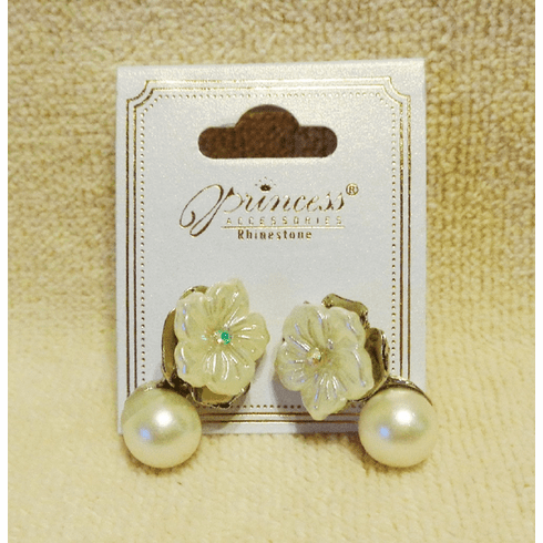 Silver Plated Flower Pearl Earrings