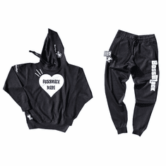 BIG HEART BLACK AND WHITE SWEAT SUIT