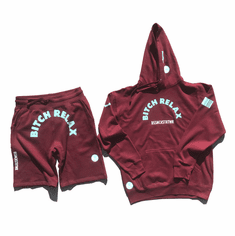 BITCH RELAX ARC BURGUNDY TIFFANY AND WHITE SHORTS SUIT