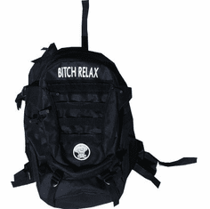 BITCH RELAX BLACK AND WHITE BACKPACK