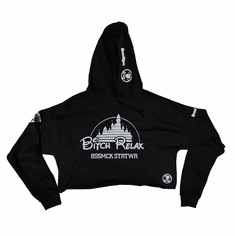 BITCH RELAX DISNEY BLACK AND WHITE CROPTOP HOODIE