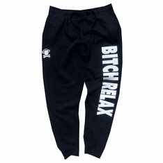 BITCH RELAX BLACK AND WHITE JOGGERS