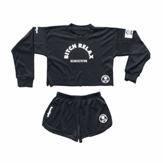 BITCH RELAX BLACK CROP TOP WITH SHORTS