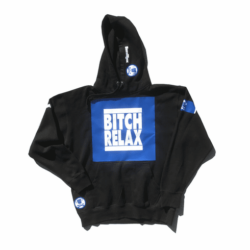 BITCH RELAX BLUE AND WHITE BOX ON BLACK HOODIE