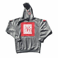 BITCH RELAX HEATHER GREY RED AND WHITE BOX HOODIE