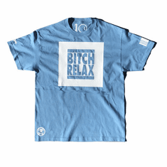 BITCH RELAX POWDER BLUE WHITE BOX TEE