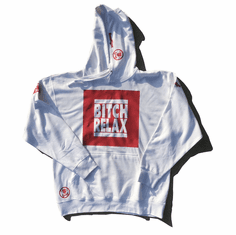 BITCH RELAX RED BOX ON ARCTIC WHITE HOODIE