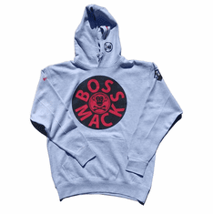 BOSSMACK RECORD HEATHER GREY RED BLACK HOODIE