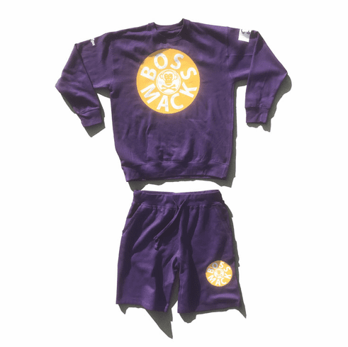 BOSSMACK RECORD PURPLE AND GOLD SUIT