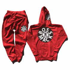 BOSSMACK RECORD RED BLACK AND WHITE SUIT