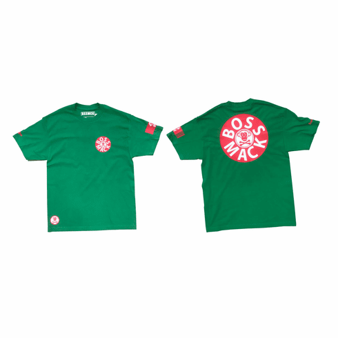 GREEN RECORD RED AND WHITE TEE