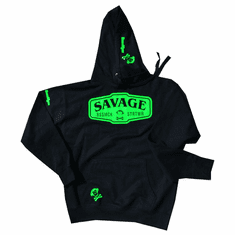 SAVAGE BLACK AND GREEN PULLOVER HOODIE