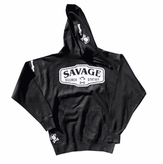 SAVAGE BLACK AND WHITE PULLOVER HOODIE