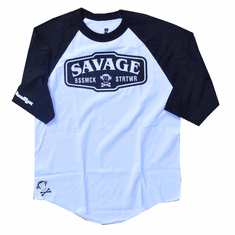 SAVAGE BLACK AND WHITE RAGLAND TEE