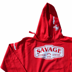 SAVAGE RED AND WHITE PULLOVER HOODIE
