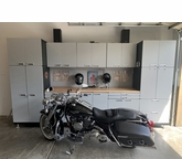 12.5 feet of Silver Powder Coated Steel Modular Garage Cabinets