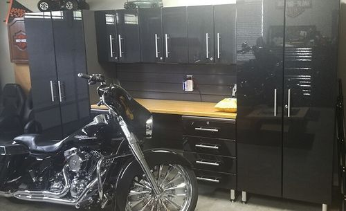 142 in Wide 8 Piece Midnight Black Metallic MDF Cabinets