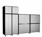 144'' Wide x92'' Height x24'' Depth Silver and Black Cabinets