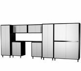 168'' Wide x68'' Height x24'' Depth Silver and Black Cabinets