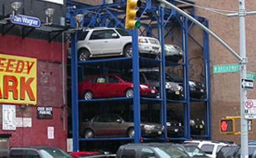 18,000-lb. Capacity, 3 Ganged Four-Post Parking Lift, 4 Levels
