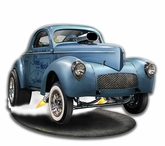 1941 S.W.C. Willys Gasser Cut-out Metal Sign