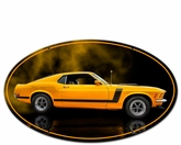 1970 YELLOW MUSTANG BOSS 302 FASTBACK OVAL SHAPE Metal Sign