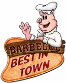 3-D Barbecue Best In Town Metal Sign