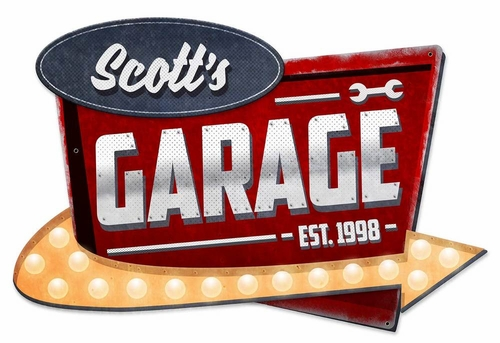 3-D Garage Personalized Metal Sign