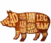 3-D Pig Meat Chart Metal Sign