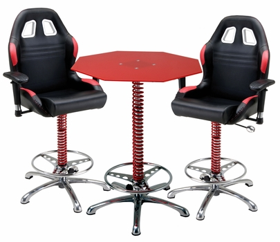 3 Piece Red Automotive Bar Furniture